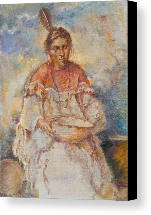 Native Americans Canvas Print featuring the painting The Basket Maker by Ellen Dreibelbis