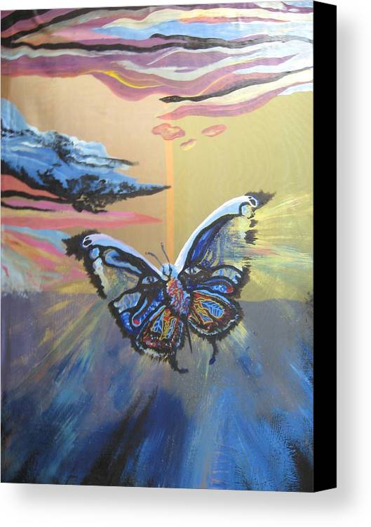 Butterfly Canvas Print featuring the painting The Butterfly by Theodora Dimitrijevic