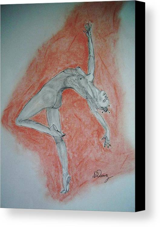 Body Shape Canvas Print featuring the drawing The Dancer by Murielle Hebert