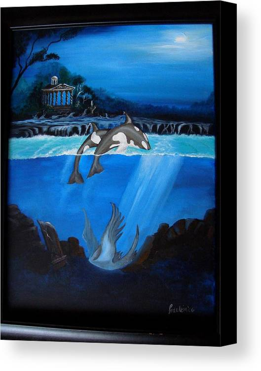 Seascape Canvas Print featuring the painting The Fallen by Glory Fraulein Wolfe