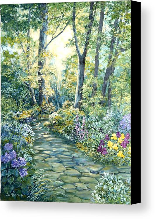 Canvas Print featuring the painting The Garden Left Side Of Triptych by Lois Mountz