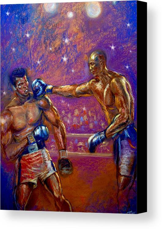 Boxing Canvas Print featuring the pastel the Greatest Muhammed Ali vs Jack Johnson by Tommy Winn
