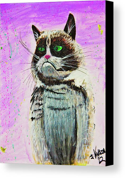 Grumpy Cat Canvas Print featuring the painting The Grumpy Cat From The Internets by eVol i