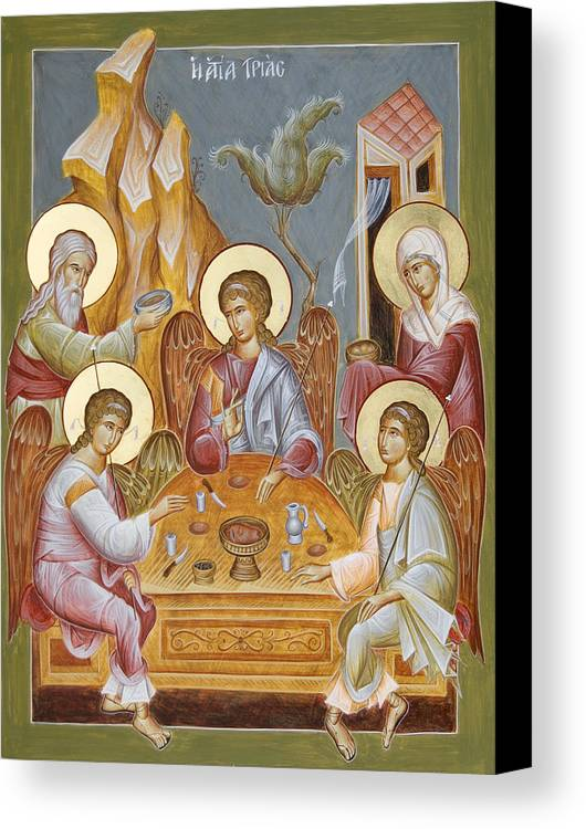 Holy Trinity Icon Canvas Print featuring the painting The Holy Trinity by Julia Bridget Hayes