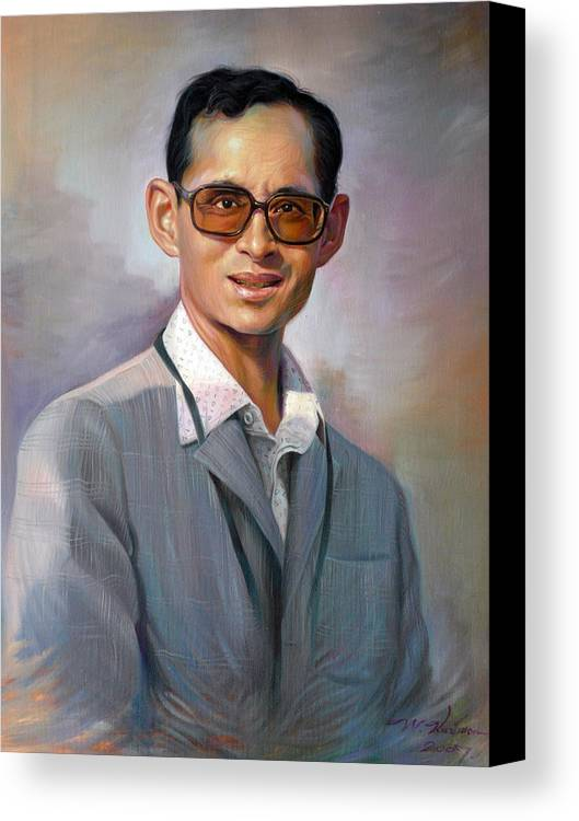 Portrait Canvas Print featuring the painting The King Bhumibol by Chonkhet Phanwichien