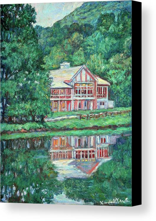 Lodge Paintings Canvas Print featuring the painting The Lodge At Peaks Of Otter by Kendall Kessler