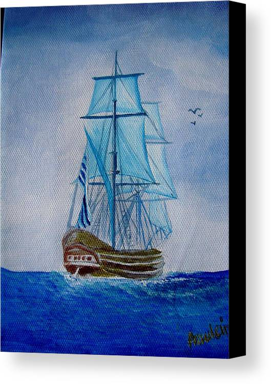 Ship Canvas Print featuring the painting The Loner by Glory Fraulein Wolfe
