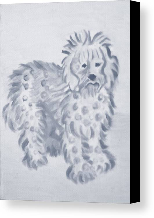 Original Oil Paintings Canvas Print featuring the painting The Loyal Dog by Monica Smith