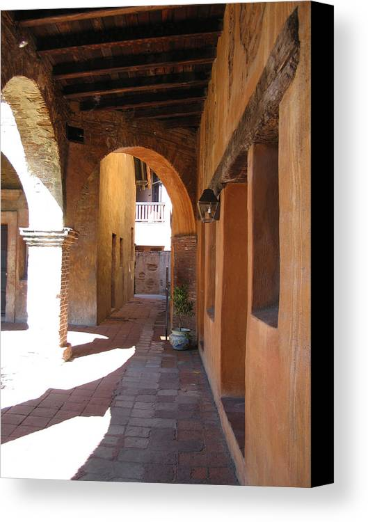 Travel Canvas Print featuring the photograph The Mission At San Juan Capistrano by Beverlee Singer