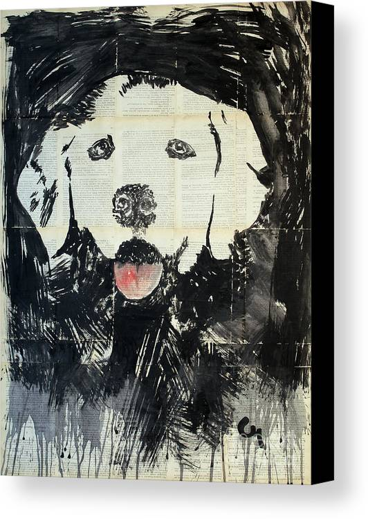 Dog Canvas Print featuring the painting The Neighbor's Dog . by Marat Cherny