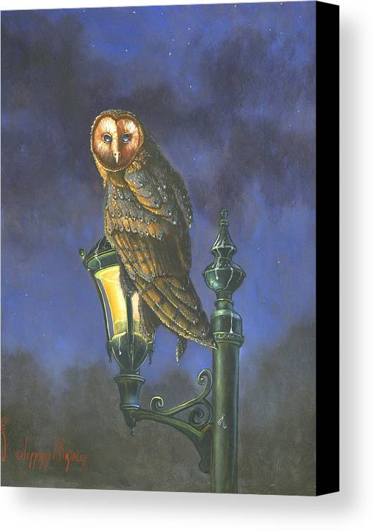 Barn Owl Canvas Print featuring the painting The Night Watch by Jeff Brimley