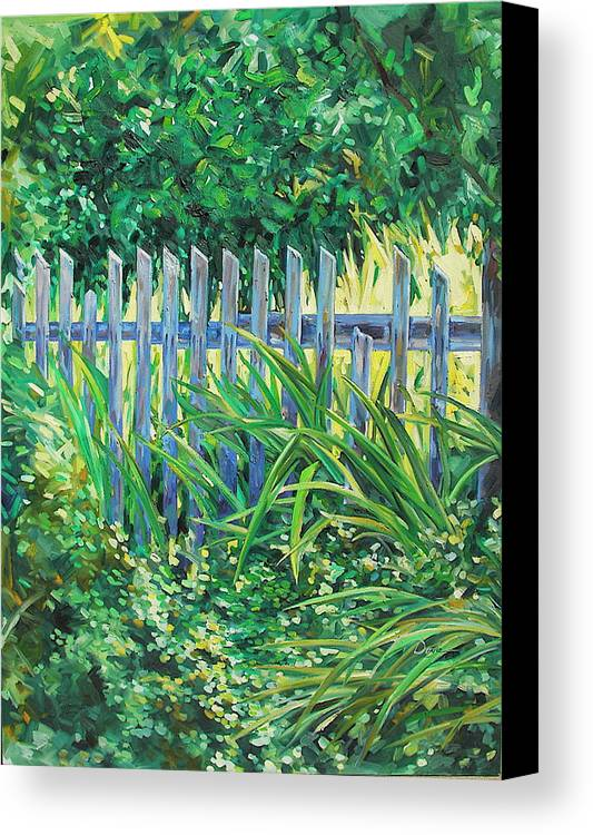 Fence Canvas Print featuring the painting The Other Side by Karen Doyle