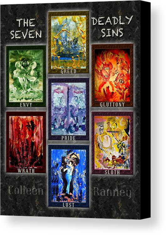 Wrath Canvas Print featuring the painting The Seven Deadly Sins by Colleen Ranney