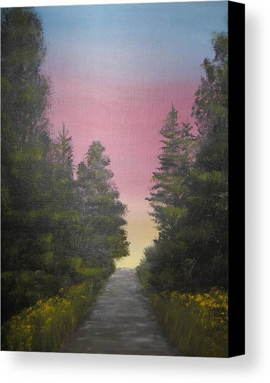 Northwest Landscape Canvas Print featuring the painting The Straight And Narrow Path by Terri Warner