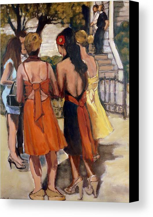 Painting Canvas Print featuring the painting The Wedding by Juliet Mevi