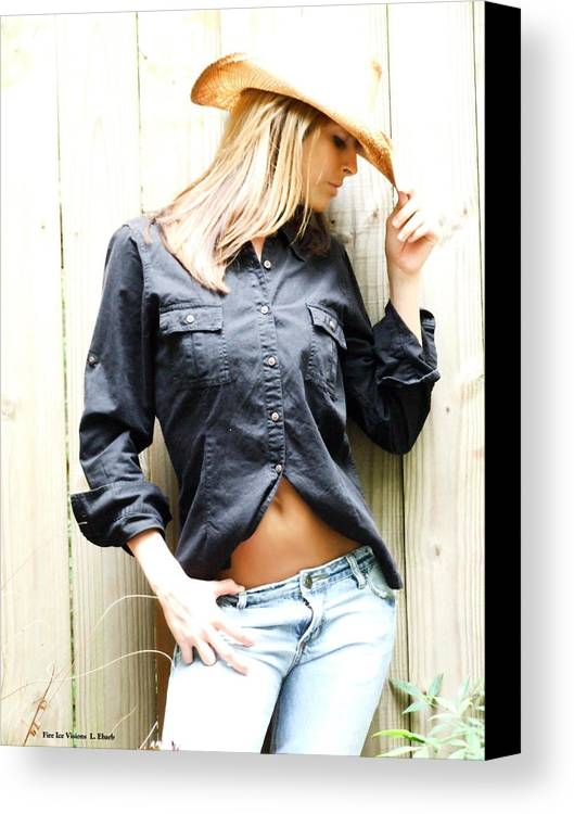 Cowgirl Canvas Print featuring the photograph The Western Look by Linda Ebarb