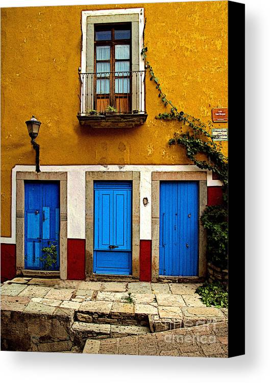 Darian Day Canvas Print featuring the photograph Three Blue Doors 2 by Mexicolors Art Photography
