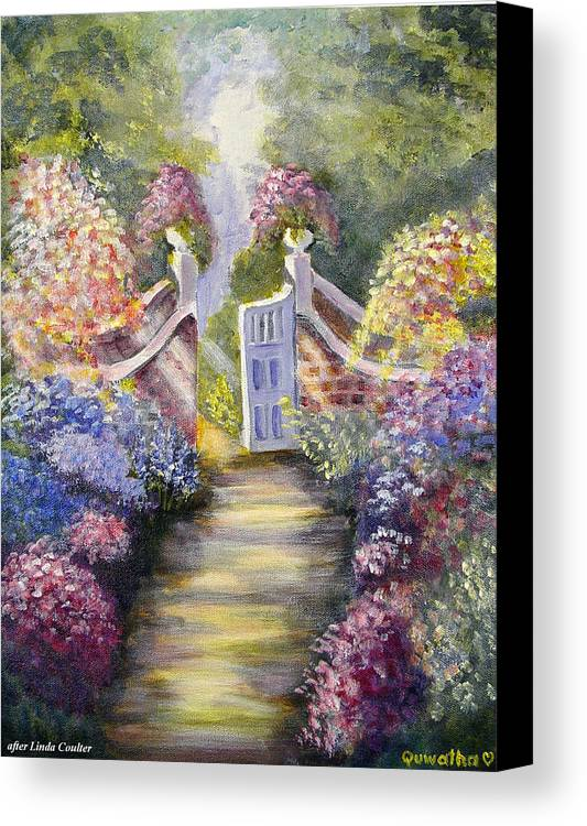 Flowers Canvas Print featuring the painting Through The Garden Gate by Quwatha Valentine