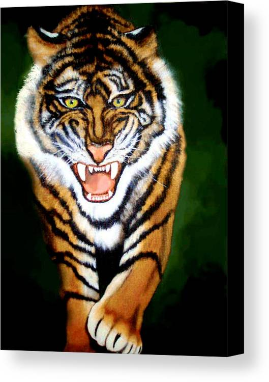 Tiger Canvas Print featuring the painting Tiger Charging by Darlene Green