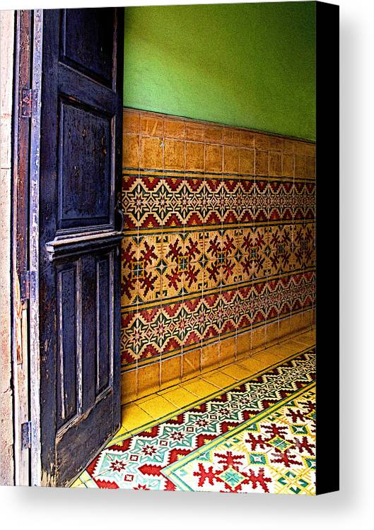 Patzcuaro Canvas Print featuring the photograph Tiled Foyer by Mexicolors Art Photography