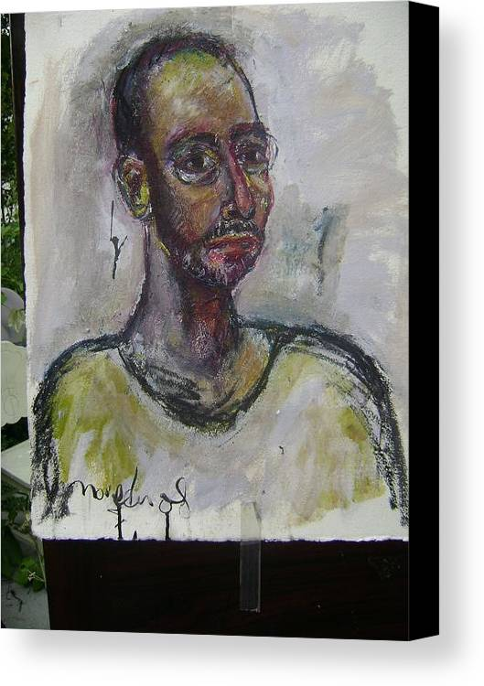 Self Portrait Canvas Print featuring the painting Time And Again by Noredin Morgan