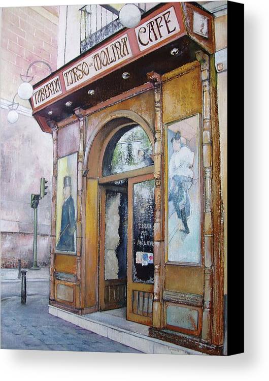 Tirso Canvas Print featuring the painting Tirso De Molina Old Tavern by Tomas Castano