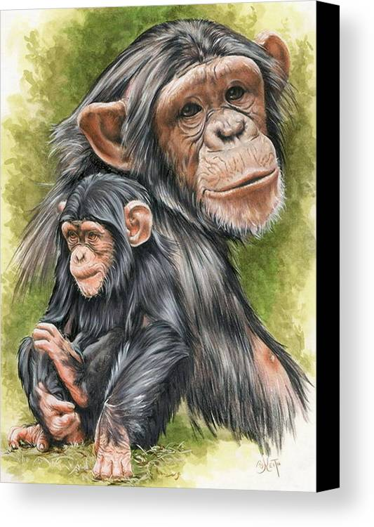 Chimpanzee Canvas Print featuring the mixed media Treasure by Barbara Keith
