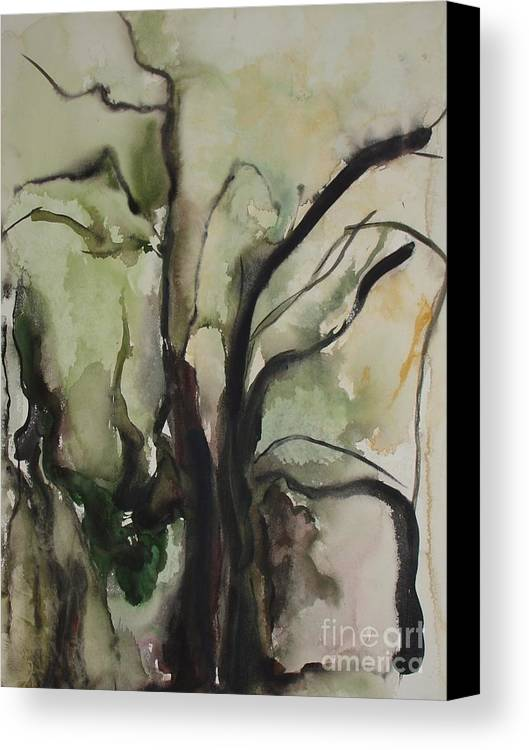 Tree Winter Abstract Original Painting Landscape Leila Atkinson Watercolor Wet On Wet Washes Trees Canvas Print featuring the painting Tree Series V by Leila Atkinson