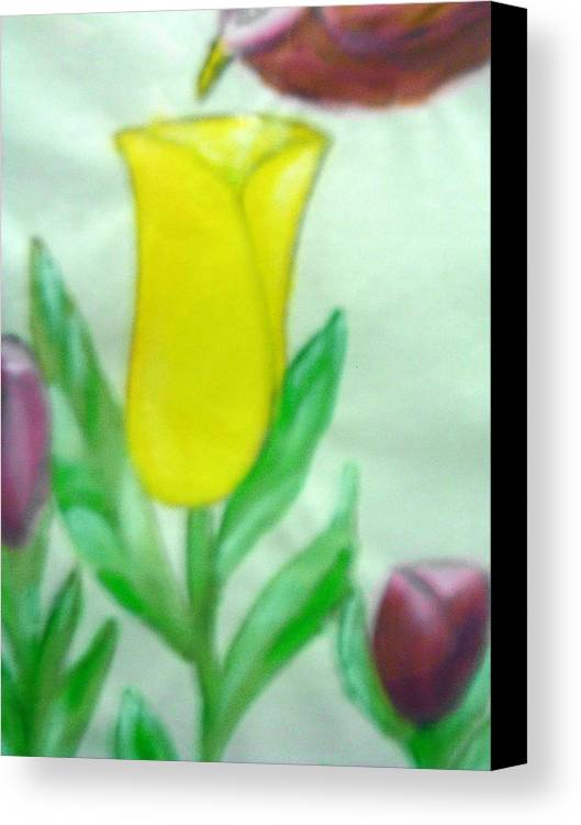 Flowers Canvas Print featuring the painting Tulip And Hummingbird by BJ Abrams
