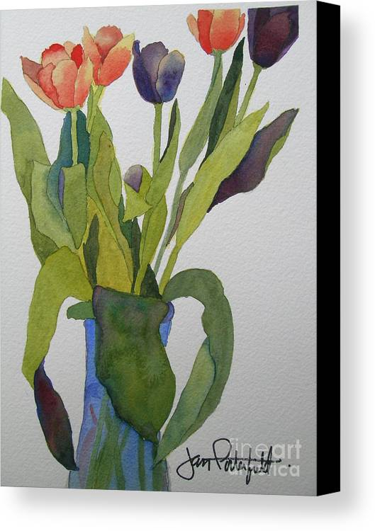 Tulip Canvas Print featuring the painting Tulips In Blue Vase by Jeff Friedman
