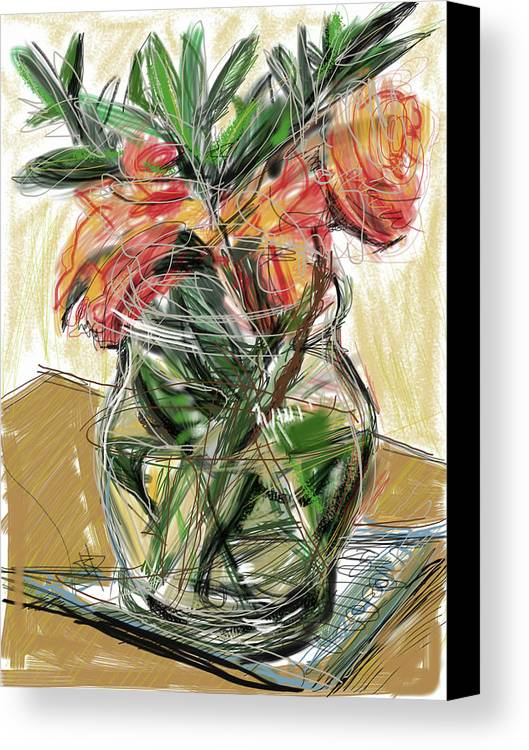 Tulips Canvas Print featuring the mixed media Tulips by Russell Pierce