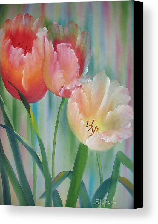 Floral Flower Tulip Exotic Green Red Orange Peach Yellow Holland Canvas Print featuring the painting Tulips by Sherry Winkler