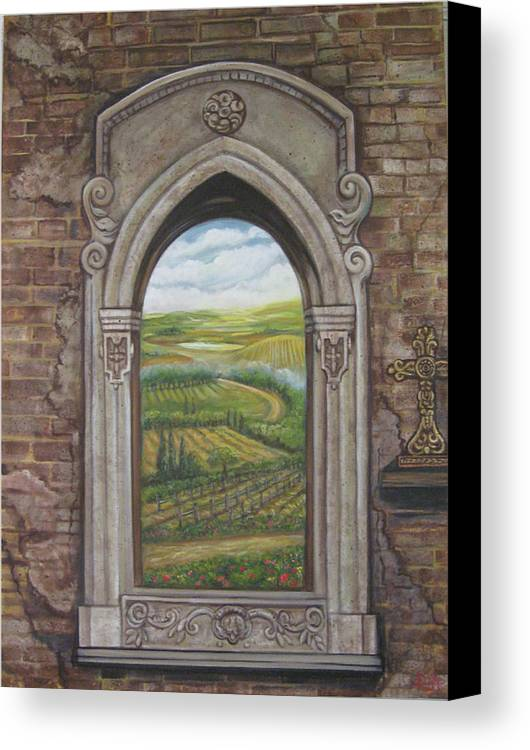 Window Canvas Print featuring the painting Tuscan View by Diann Baggett