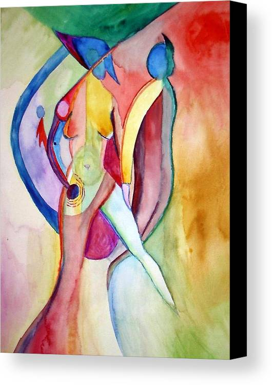 Couple Canvas Print featuring the painting Two Of Us by Peter Shor