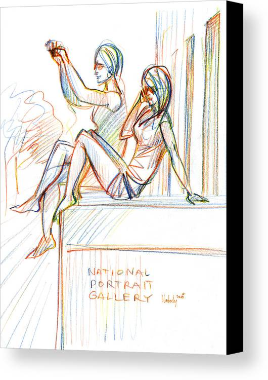 Woman Canvas Print featuring the drawing Under Gallery by Natoly Art