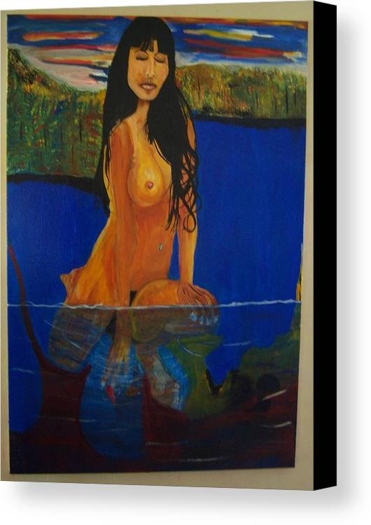 Nude Canvas Print featuring the painting Underwater Woman by Dominic Angarano