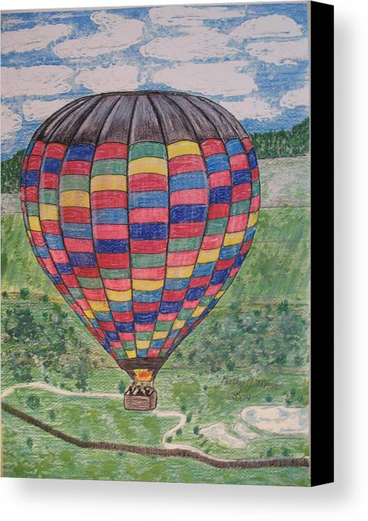Balloon Ride Canvas Print featuring the painting Up Up And Away by Kathy Marrs Chandler