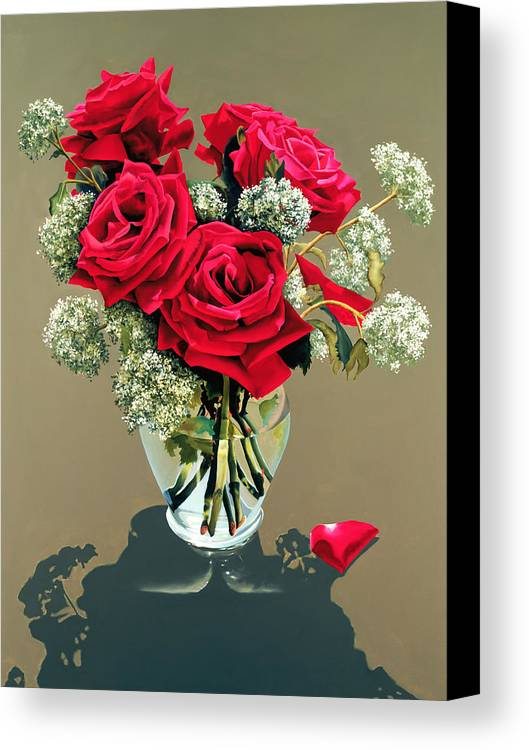 Flower Canvas Print featuring the painting Valentine Roses by Ora Sorensen