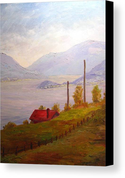 Italy Canvas Print featuring the painting View Of Bellagio Lake Como Italy by Belinda Consten
