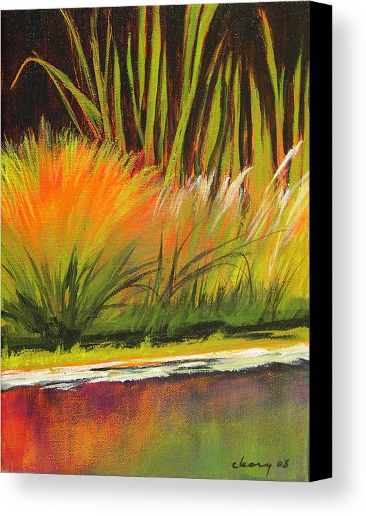 Landscape Canvas Print featuring the painting Water Garden Landscape 5 by Melody Cleary