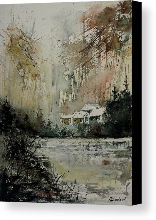 Landscape Canvas Print featuring the painting Watercolor 070608 by Pol Ledent