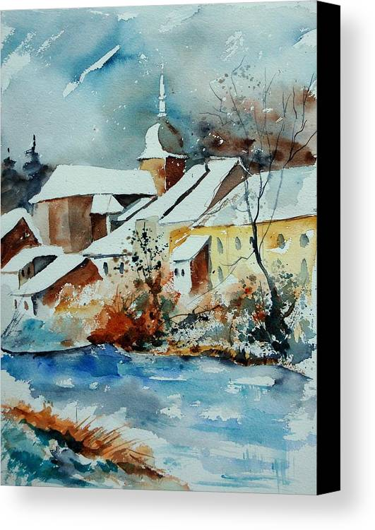 Landscape Canvas Print featuring the painting Watercolor Chassepierre by Pol Ledent