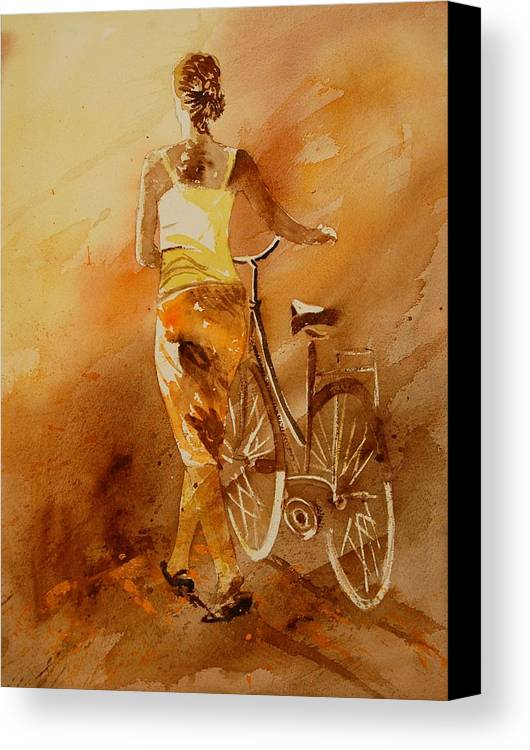 Figurative Canvas Print featuring the painting Watercolor With My Bike by Pol Ledent