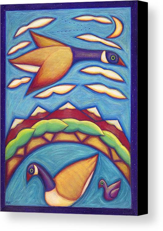 Whimsical Canvas Print featuring the painting We Are Family by Mary Anne Nagy