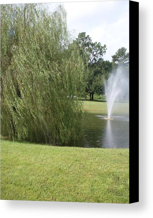 Weeping Willow Canvas Print featuring the photograph Weeping Willow And Fountain by Warren Thompson