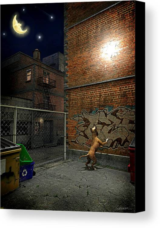 City Canvas Print featuring the digital art When Stars Fall In The City by Cynthia Decker