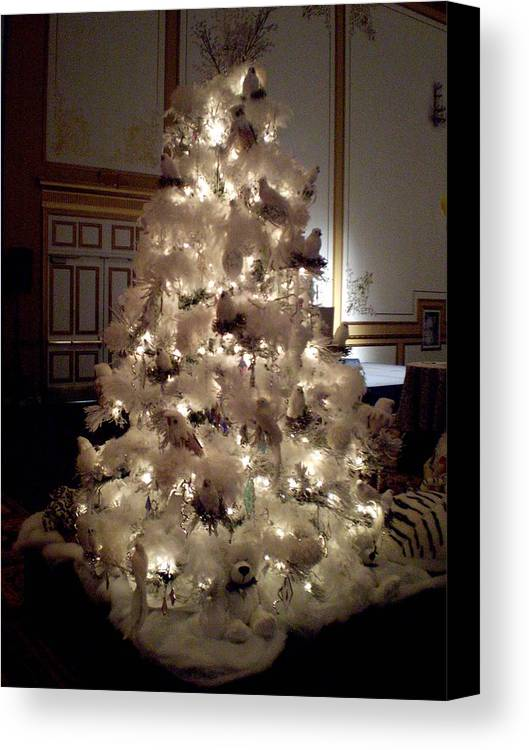 Christmas Tree Canvas Print featuring the photograph White Christmas Snow Ball Gala by Ricky Kendall