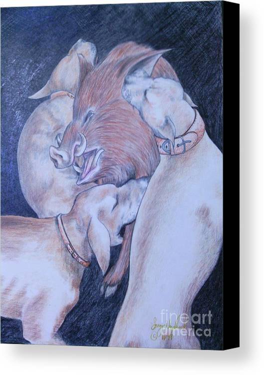 Hunting Canvas Print featuring the drawing Wild Boar And Dogs by Larry Hazelwood