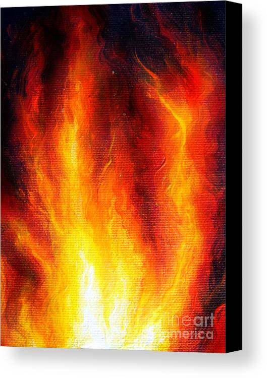 Fire Canvas Print featuring the painting Wild Fire 04 by Sofia Metal Queen