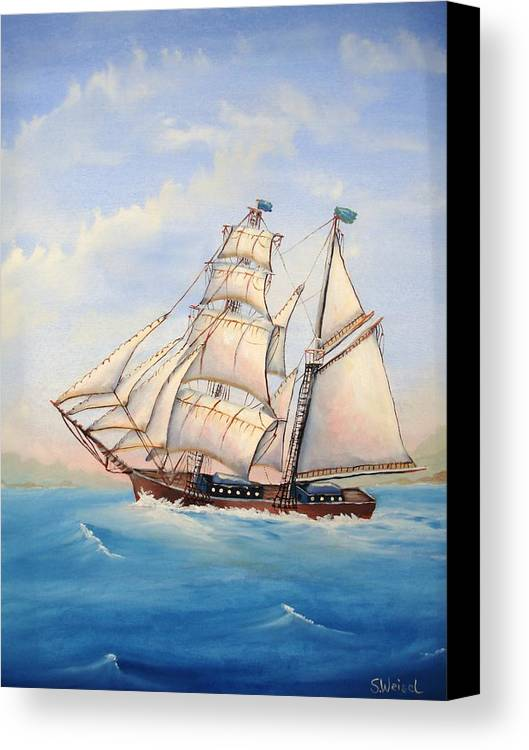 Schooner Boat Sea Ocean Landscape Wave Sail Blue Cream Brown Wave Canvas Print featuring the painting Wind Surfer by Sherry Winkler